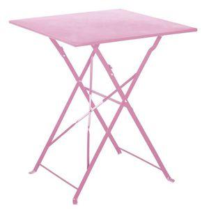 TABLE À MANGER SEULE Table de jardin pliante en acier coloris chamallow