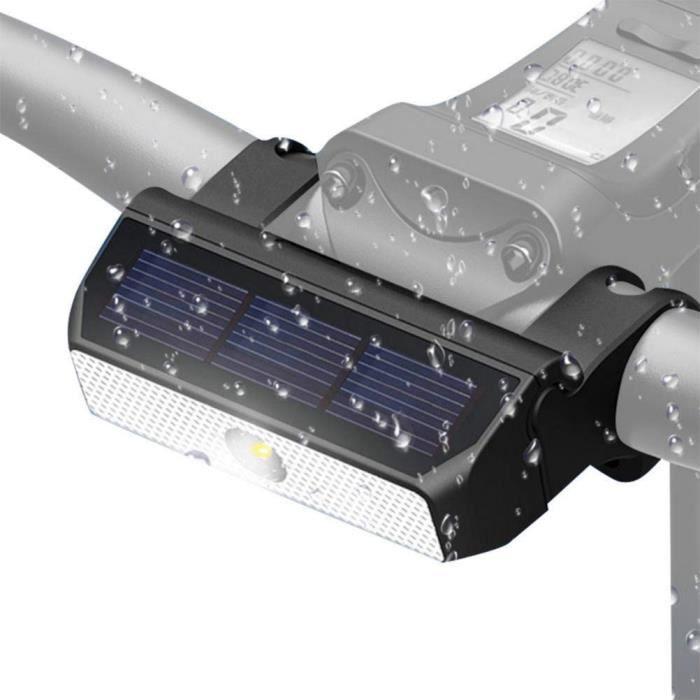 Phare vélo LED solaire vélo lampe de sécurité pour vélo avertissement lumière