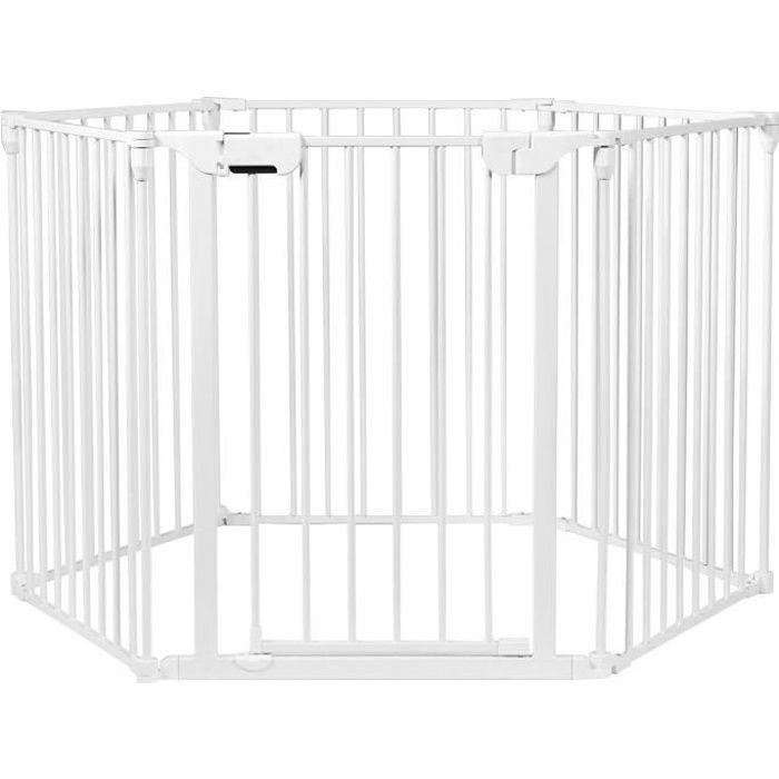 COSTWAY Barrière de Sécurité Enfant 6 Panneaux 380 CM Pare-Feu de Cheminée Blanc