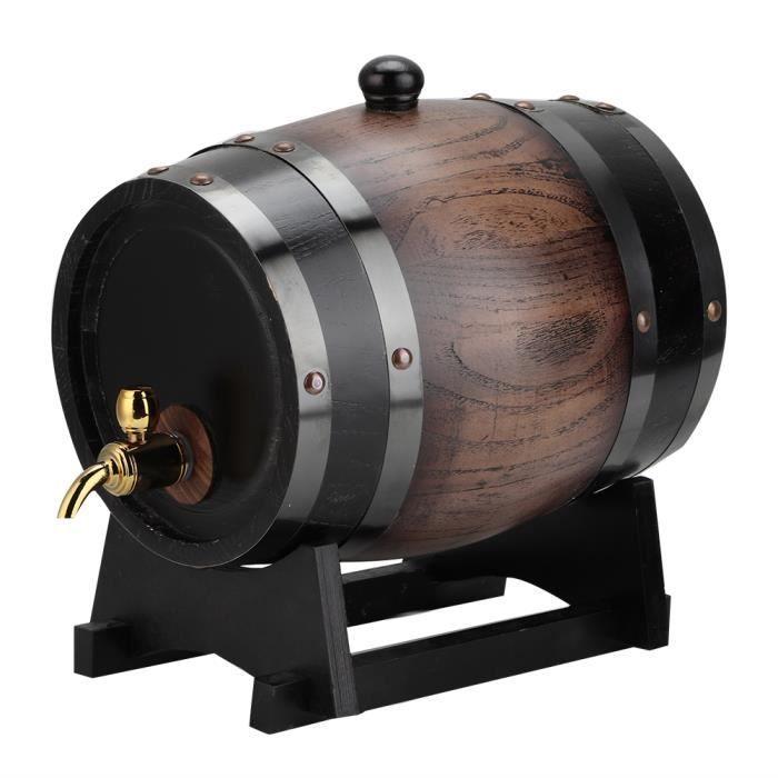 3L Vintage rayé chêne noir baril de vin rouge baril récipient seau avec robinet pour Brandy Whisky-MEY
