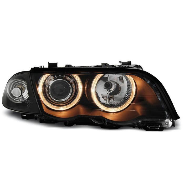 Paire de feux phares BMW serie 3 E46 berline 98-01 angel eyes noir (M41)
