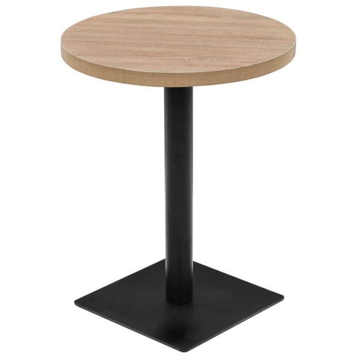 Table de bistro Table de bar - Table haute- Style Contemporain scandinave - MDF et acier Rond 60 x 75 cm Couleur de chêne ♫❤7230