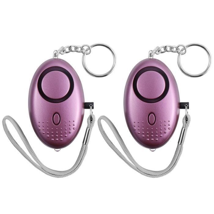 Alarme Personnelle Porte-clés 140DB Police Approuvé Mini Loud Defense, pour des Femmes, Enfants, Filles, Paquet de 2, Pourpre