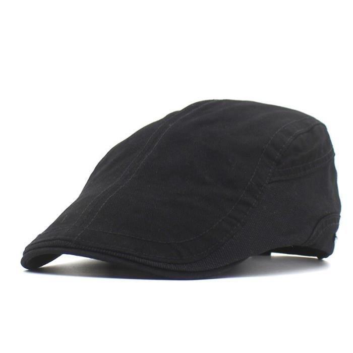 Casquettes de printemps et d'été pour hommes et femmes, couleur unie, en coton, à visière plate Black-55-61cm adjustable -WILM4742