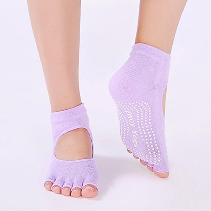 Accessoires Fitness - Musculation,Cinq doigts dos nu Yoga chaussettes courtes femmes anti dérapant à - Type VIOLET-Free size