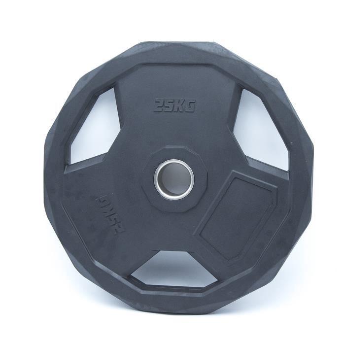 Disque Olympique Hexagonal Premium - 25 kg - Noir