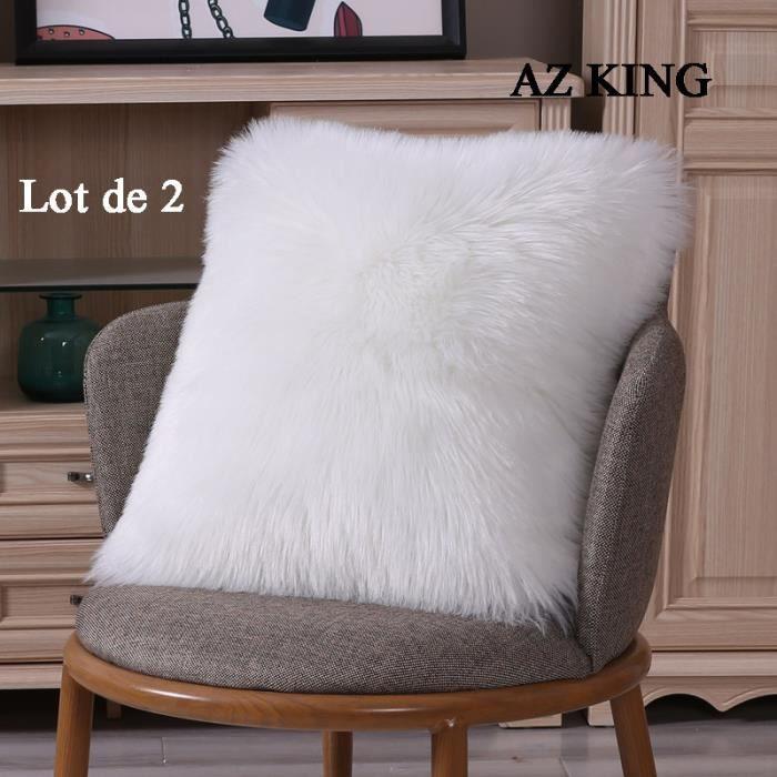 AZ KING- 2PCS Housse de Coussin 40X40cm Blanc, Fausse Fourrure Deluxe Décoratif Pour Chambre Lit Super Doux Peluche