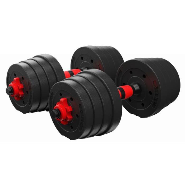 Haltères fitness 30KG-produit de fitness à domicile-caoutchouc enduit rouge et noir