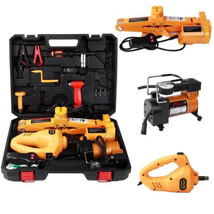 Cuque 2 Tonnes 12V DC Kit de Cric en Métal pour Voiture Équipement d'Urgence pour SUV Automobile HB0038 -ZOO HY24