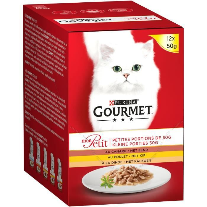 GOURMET Mon Petit Pâtée à la volaille - Pour chat adulte - 12 x 50 g