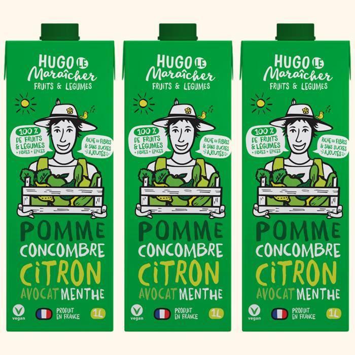 Hugo Le Maraîcher - Jus de Fruits et Légumes Pomme Concombre 1L - Pack de 3