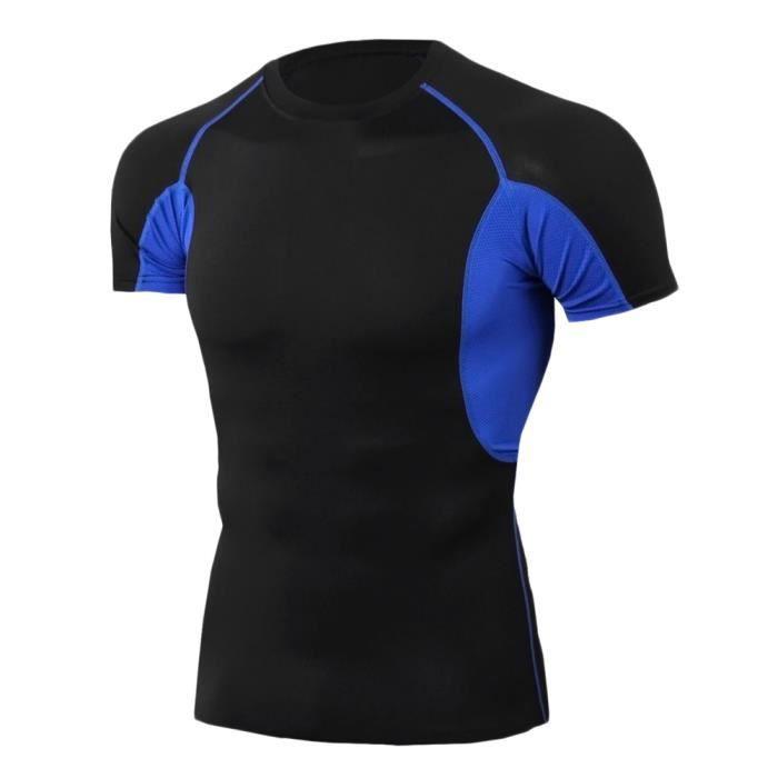 T-Shirt De Compression Manches Courtes Vêtements Fitness Running Sports Séchage Rapide Baselayer Haut Homme TD81 2XL