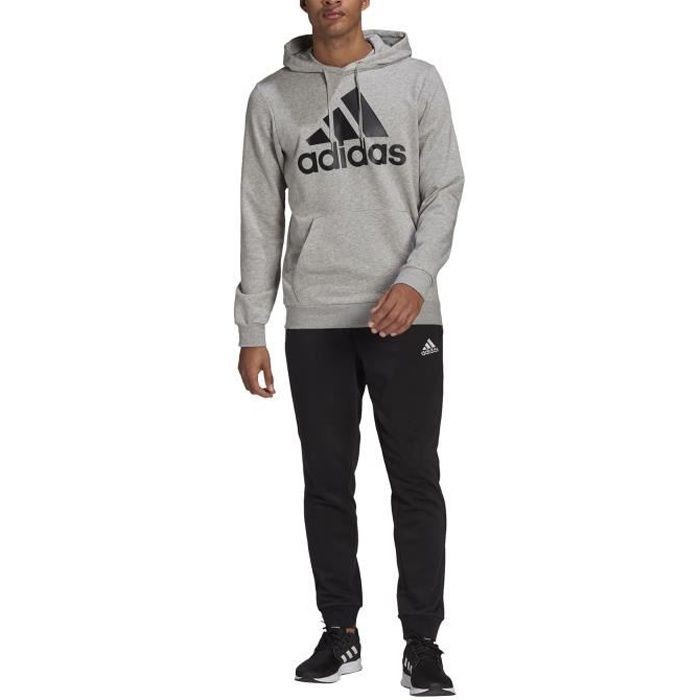 Adidas Survêtement pour Homme Aeroready Essentials Kangaroo Pocket Big Logo Gris