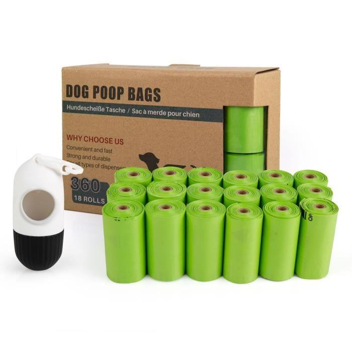 Lot de 400 sacs à déjections canines avec distributeur et clip pour Chat Chien Noir 20 sacs par rouleau (20 rouleaux au total)