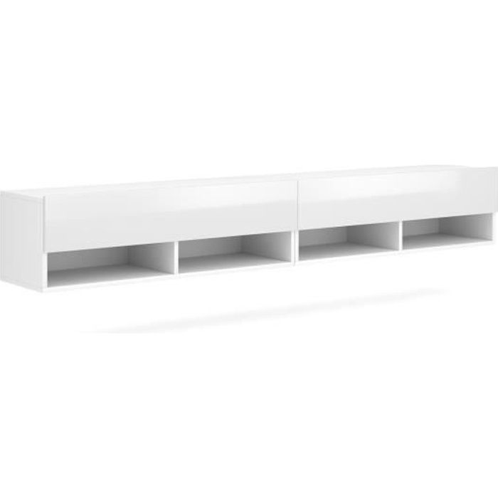 VIVALDI Meuble TV - DERBY DOUBLE - 200 cm - blanc mat - blanc brillant - style moderne