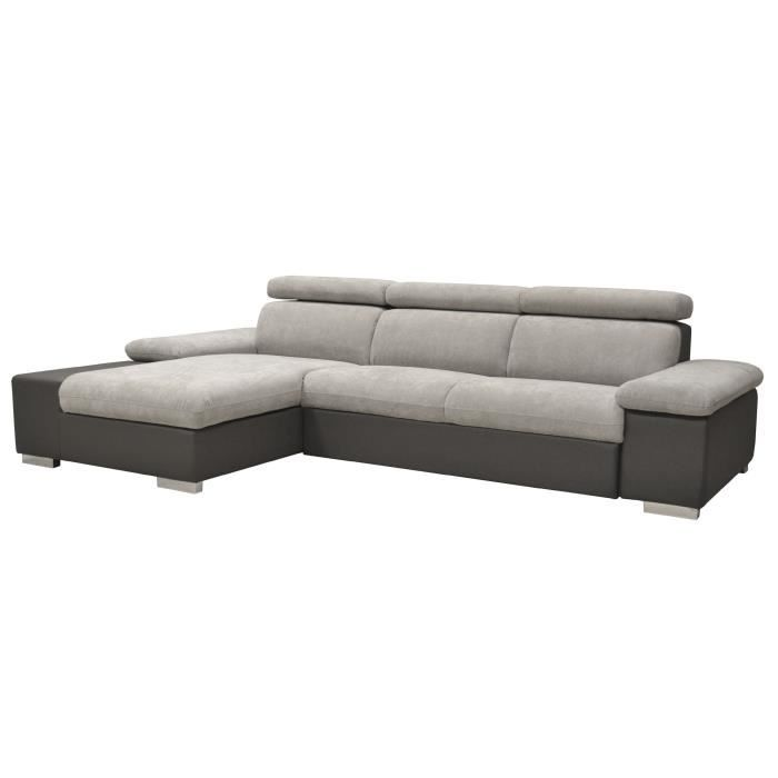 orca canap convertible d 39 angle gauche gris achat vente canap sofa divan cdiscount. Black Bedroom Furniture Sets. Home Design Ideas