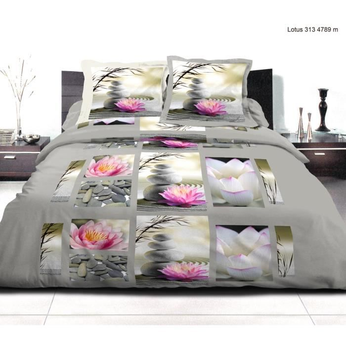 parure de draps 2 personnes 140x190 lotus achat vente. Black Bedroom Furniture Sets. Home Design Ideas