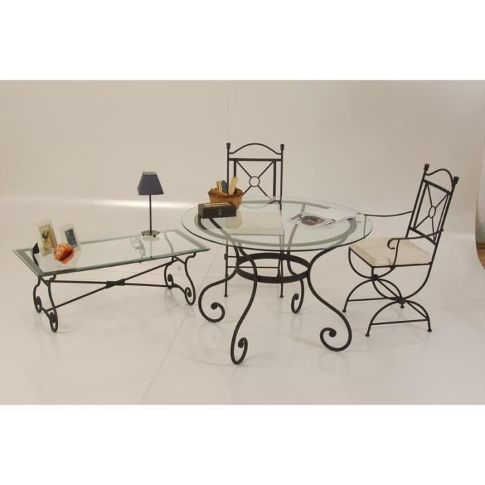 Table de repas ronde en fer forg 120cm vogue meuble for Meuble en fer forge