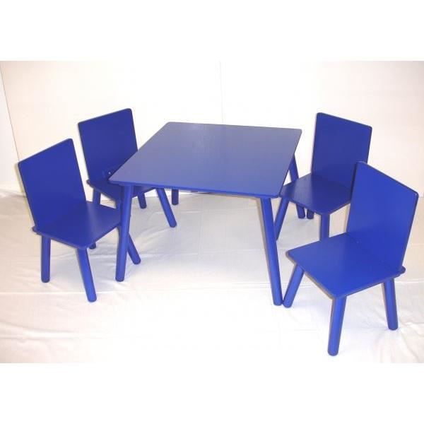 jeu de table d 39 activit et 4 chaises pour enfants bleu. Black Bedroom Furniture Sets. Home Design Ideas