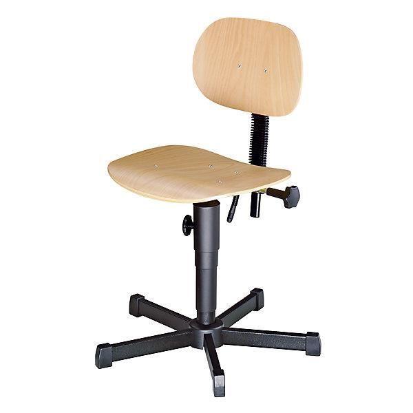 Siège d'atelier à assise en bois avec roulettes hauteur réglable par serrage mécanique de 490 à 610 mm Chaise Chaise de travail