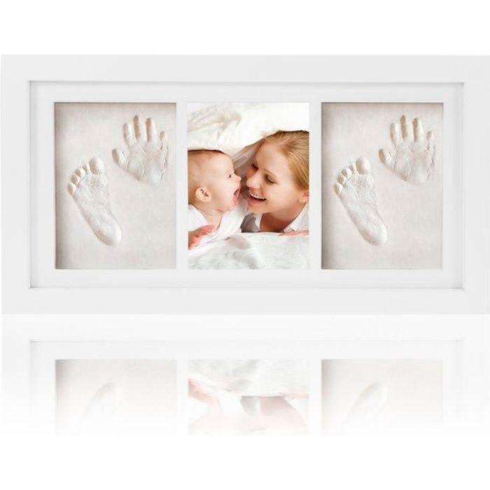 Baby Handprint et empreinte Kit - Cadre Photo en bois - Deux empreintes et une photo cadres - Blanc