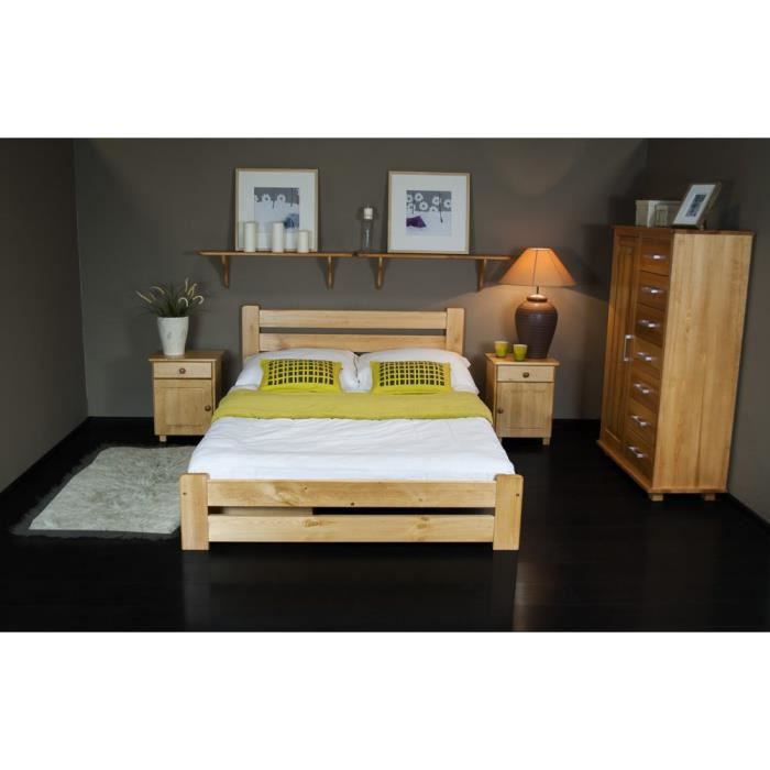 justhome kati lit en bois sommier lattes couleur aulne 160 x 200 cm achat vente lit. Black Bedroom Furniture Sets. Home Design Ideas