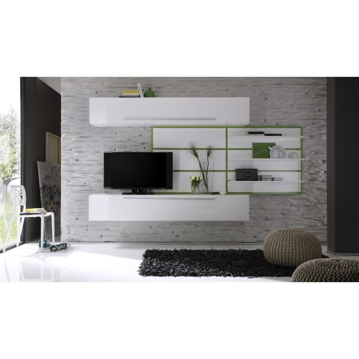 composition tv murale design blanc laqu vert celtic achat vente meuble tv composition tv. Black Bedroom Furniture Sets. Home Design Ideas