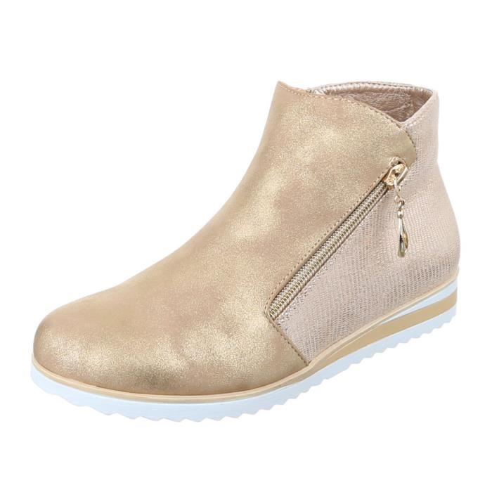 femme bottine chaussure Boots or