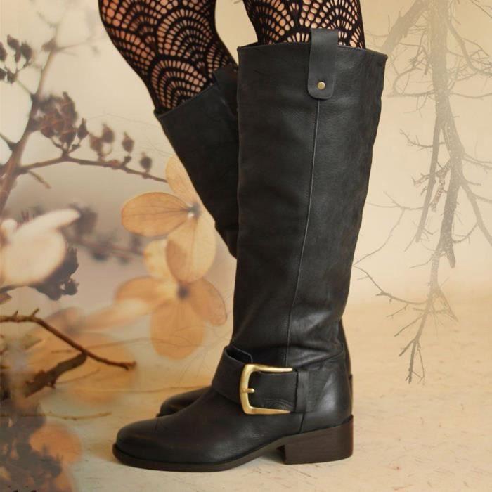 Femme Bout Rond Zip Bottes hautes à talon bottier équitation Gothique Punk Chaussures plus Sz
