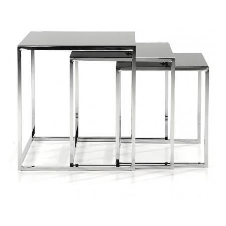 tables gigognes en verre noir powell achat vente bout. Black Bedroom Furniture Sets. Home Design Ideas