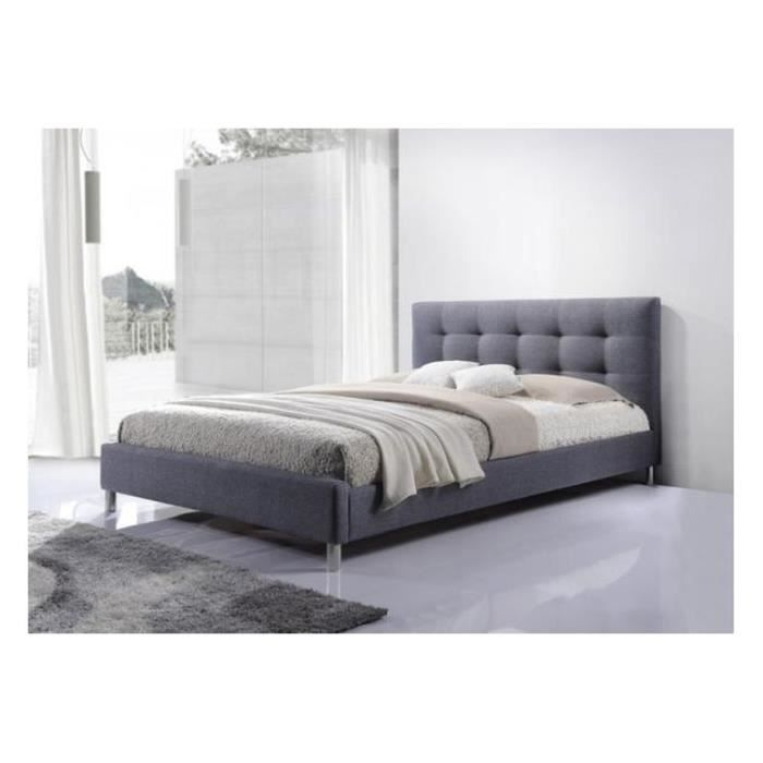 lit gris 160 en tissu avec t te de lit capitonn e tulius achat vente lit complet lit gris. Black Bedroom Furniture Sets. Home Design Ideas