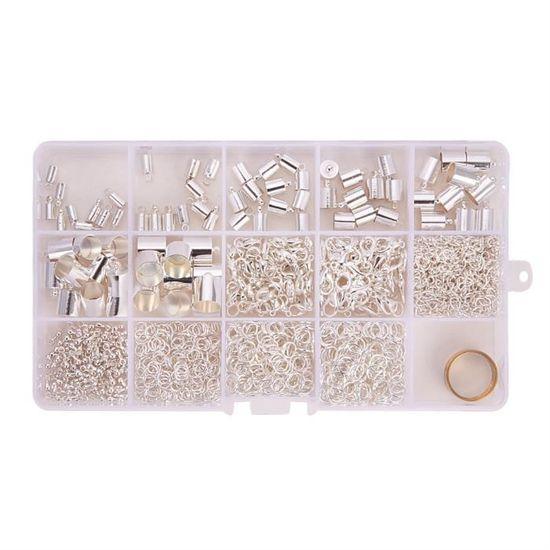 PandaHall Elite 2,2 mm Bo/îte de fermoirs /à mousqueton avec anneaux en alliage de zinc