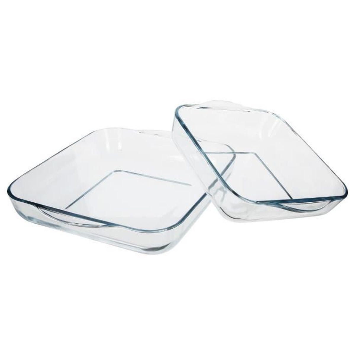 Plat En Verre Sur Plaque Induction 2 plats culinaires carrés - verre