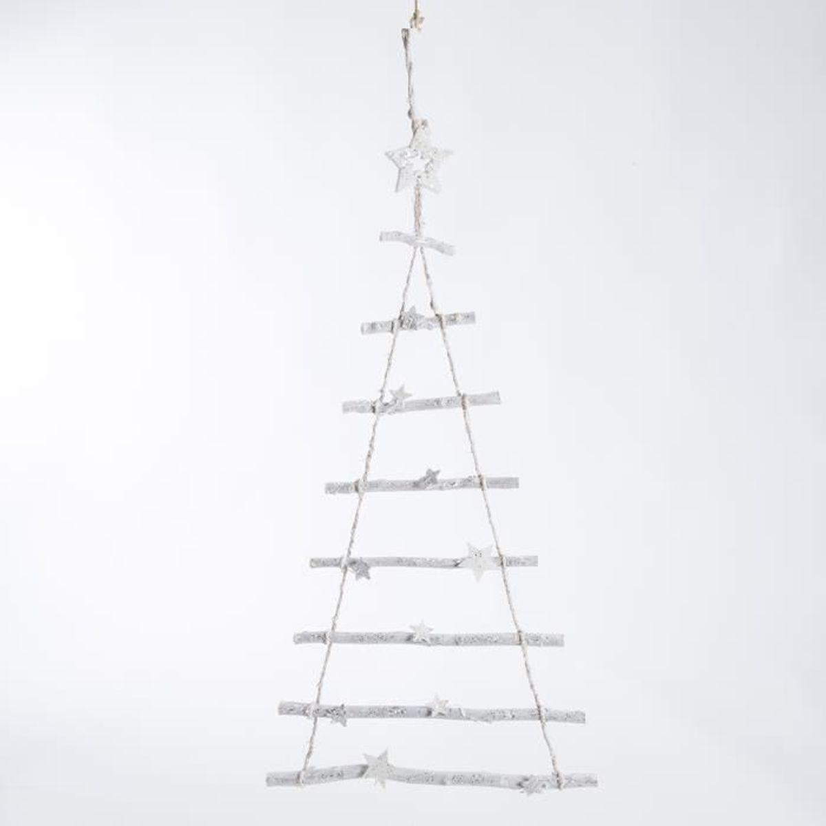 Arbre Bois Blanc Decoration arbre de noël déco à suspendre en bois blanc et ficelle avec