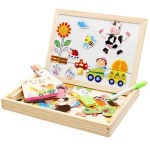 PUZZLE Jouets éducatifs en bois Puzzles magnétiques Doubl