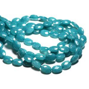 30 perles de verre  6 mm bleu vert balayages or