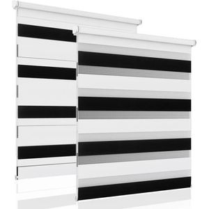 STORE DE FENÊTRE Store Enrouleur Jour Nuit 40x150cm Noir-Blanc Doub