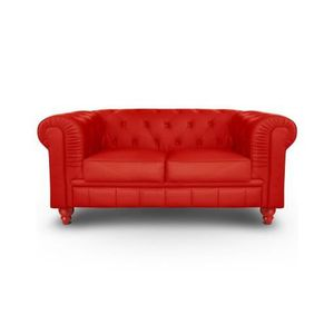 Canap 2 places rouge achat vente canap 2 places for Canape chesterfield rouge cuir
