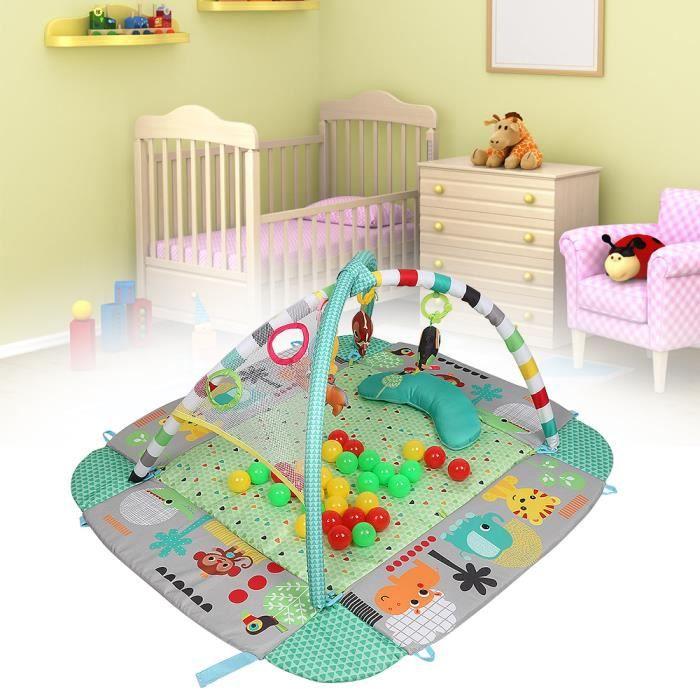 GMM® Tapis d'Eveil évolutif multifonction 5-en-1 VERT: 30 balles incluses, jouets, oreiller, musique chanson