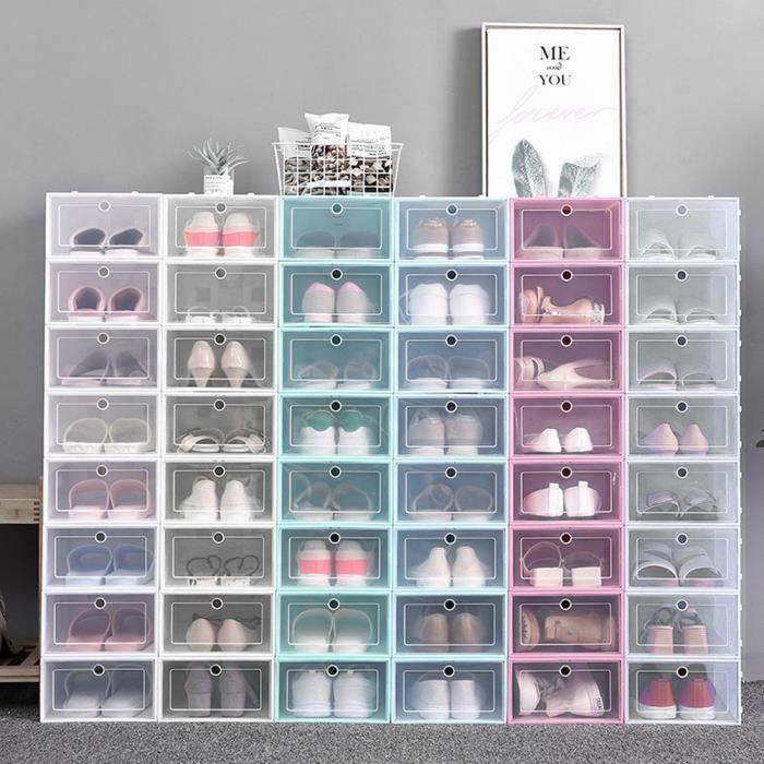 Ménage épaissir Transparent Empilable Boîte à Chaussures Antipoussière Chaussures Boîte De Rangement (Blanc 31x21.5x12.5cm)