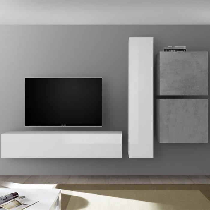 Grand meuble TV blanc laqué et gris béton PUNTA Gris L 260 x P 30 x H 180
