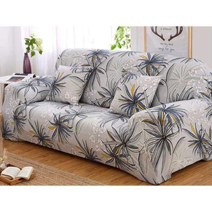 Housse de canapé-fauteuil 3 places-personnes clic clac d'angle extensible décoration maison 190-230cm (gris et blanc)