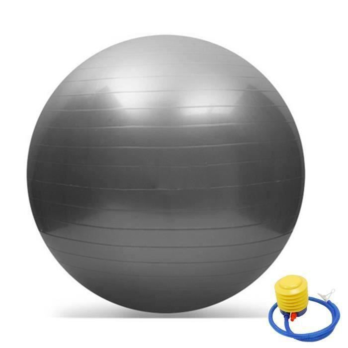 65cm exercice yoga swiss ball anti-éclatement + pompe gris
