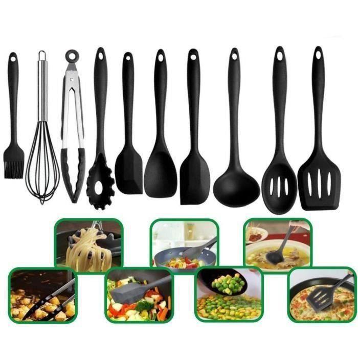 Cuisson Silicone Ustensiles De Cuisine,Non-Toxiques,Résistant à La Chaleur ,Anti-Adhésive, Kitchen Casseroles Outils 10 pcs  Sh31830