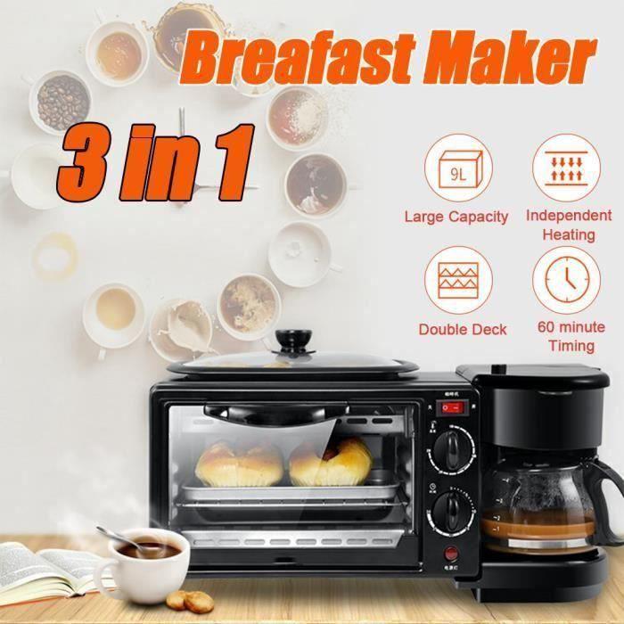 3 en 1Mini Machine à petit-déjeuner multifonctions - Four électrique - Grille-pain - Machine à café