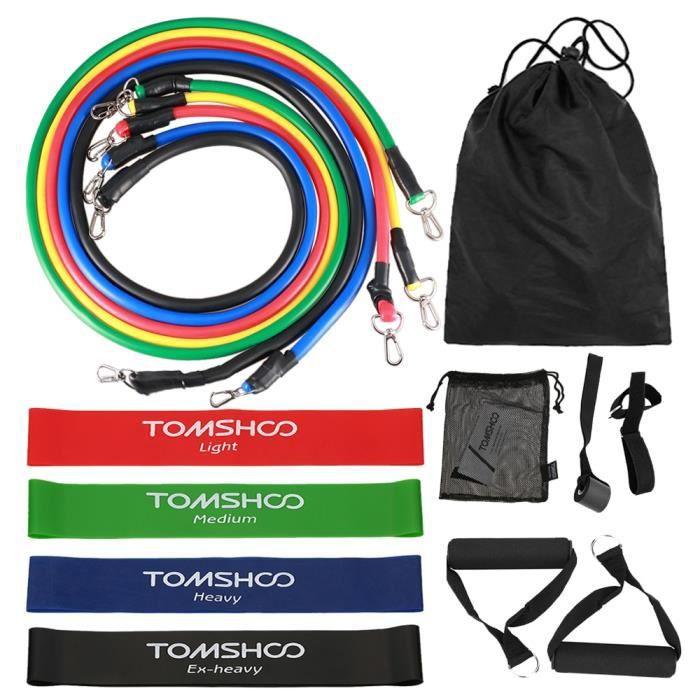 Accessoires Fitness - Musculation,TOMSHOO résistance bandes ensemble 17 pièces Fitness élastique Yoga gymnastique - Type 16pcs #A