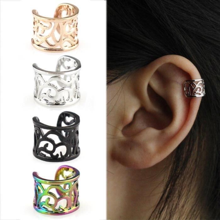 Beau Mode arc-en-ciel pour femmes Punk Bijoux Clip-on Boucles d'oreilles Non-piercing Cartilage Cuff Eardrop Rainbow