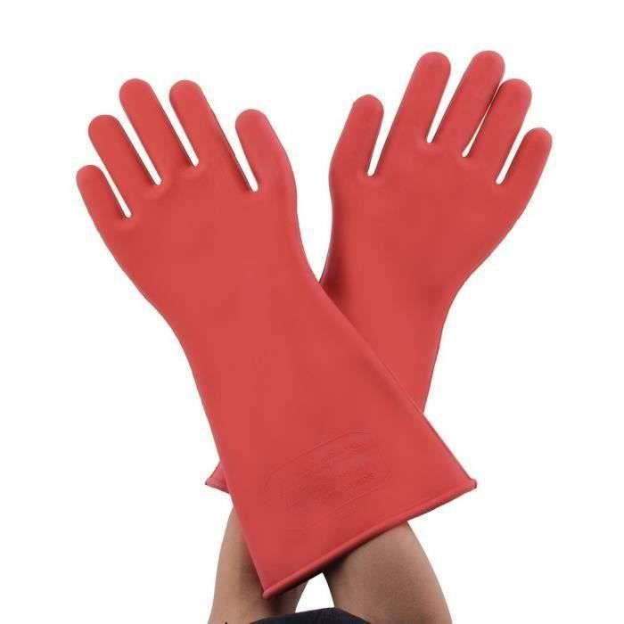 1 paire de gants professionnels isolants électriques haute tension 12kv en caoutchouc gant de sécurité électricien accessoire 40cm