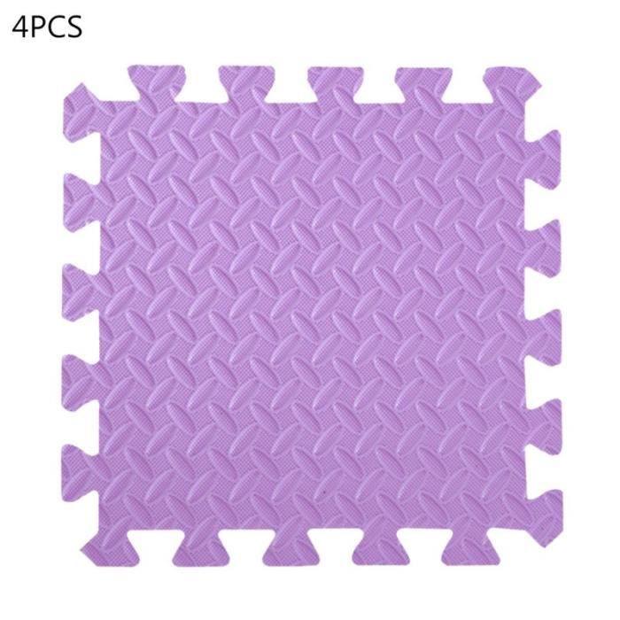 EVA tapis de sol en mousse 4 pièces Tapis de sol avec bordure pour gymnastique, Yoga, Fitness, Y98F~VIOLET CC5413