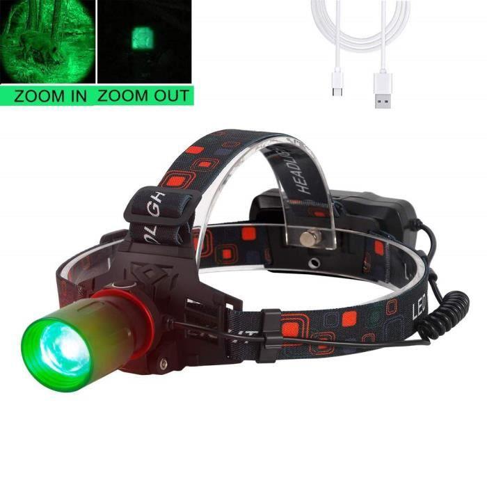 Lampe frontale avec lumière verte, Lampe frontale pour la chasse, 1000 lumens, zoomable pour l'astronomie, la vision nocturne, le